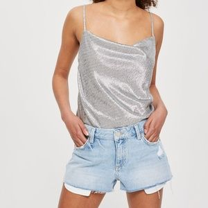 Topshop Cory Mid Rise Jean Shorts Distressed Rips